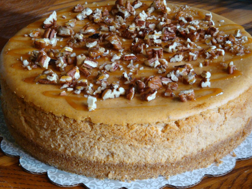 Pumpkin Maple Caramel Pecan Cheesecake